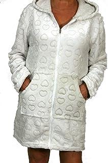 Montse Interiors Bata o Albornoz Mujer Coralina Tacto Seda o Visón Homewear con Capucha (Bata