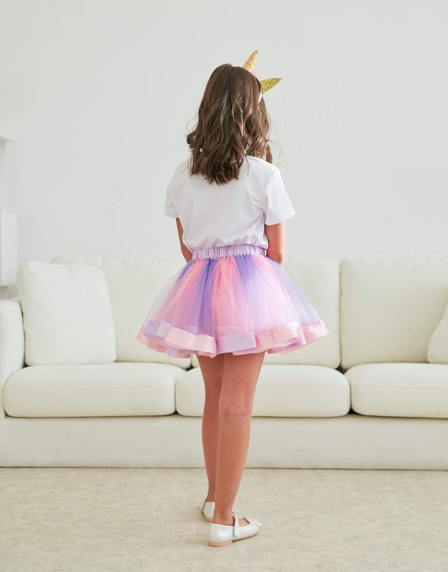 Girls Layered Tutu Skirt with Unicorn Tshirt, Headband & Satin Sash 6