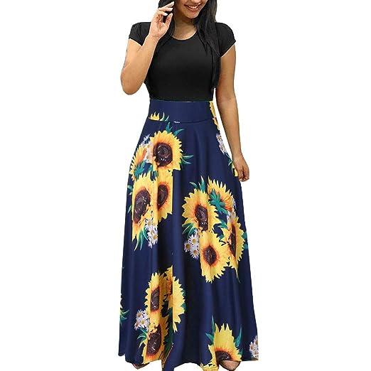 a26a41b42bb Lotus.Flower Women Summer Short Sleeve Sunflower Print Sundress ...