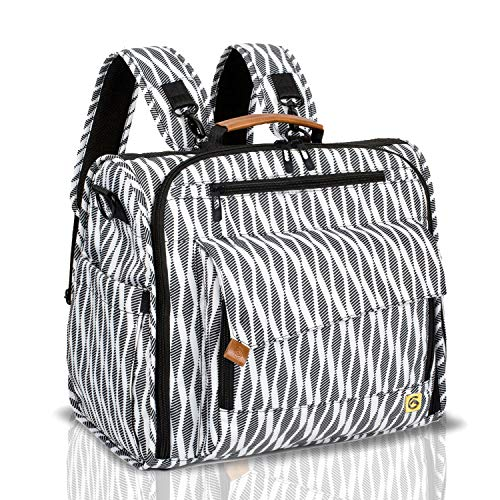 (ALLCAMP Zebra Diaper Bag Large, Support Baby Stroller, Converted Into a Tote Bag, Black and White)