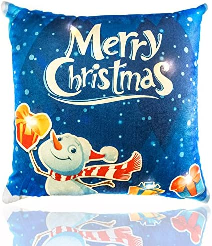 Merry Christmas Throw Pillow Light Up LED Lights, Printed Cushion Cover with Filling Bright Colorful Holiday Season Great Gift Xmas Decorative Cushion 17.5 x 17.5 Merry Snowman