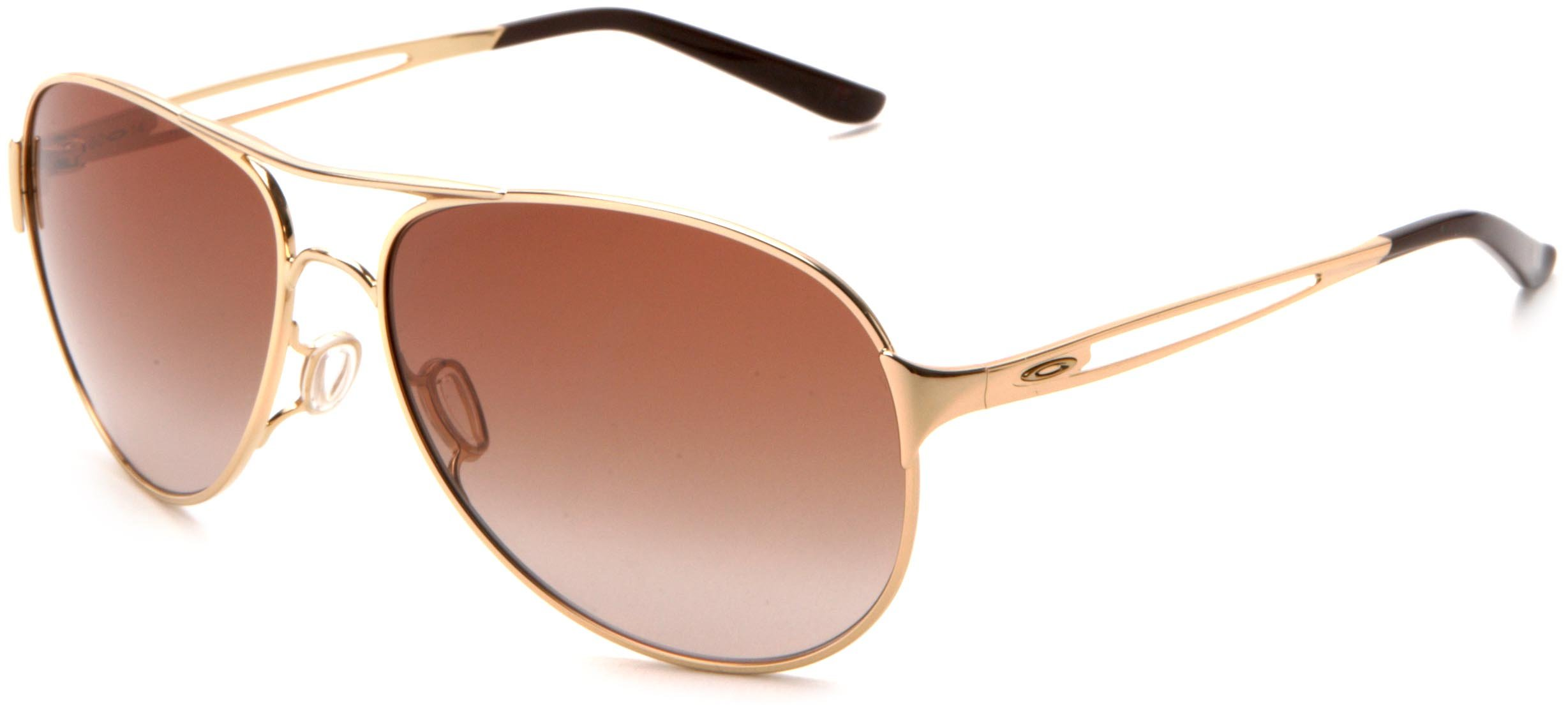 Oakley Women's Caveat Aviator Sunglasses,Polished Gold Frame/Dark Brown Gradient Lens,One Size