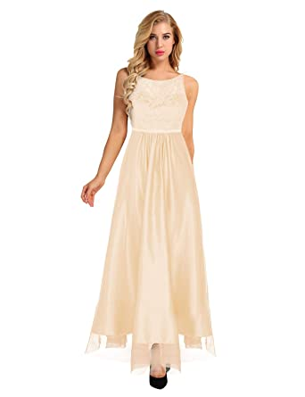 Freebily Women Sleeveless Embroidered Lace Ball Gown Prom Wedding Bridesmaid Long Evening Dress Hollow Back Champagne