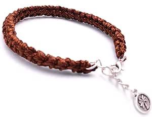 ربطة يد  كروشية  للجنسين, مقاس وسط , صنع يدوي , لون بني
