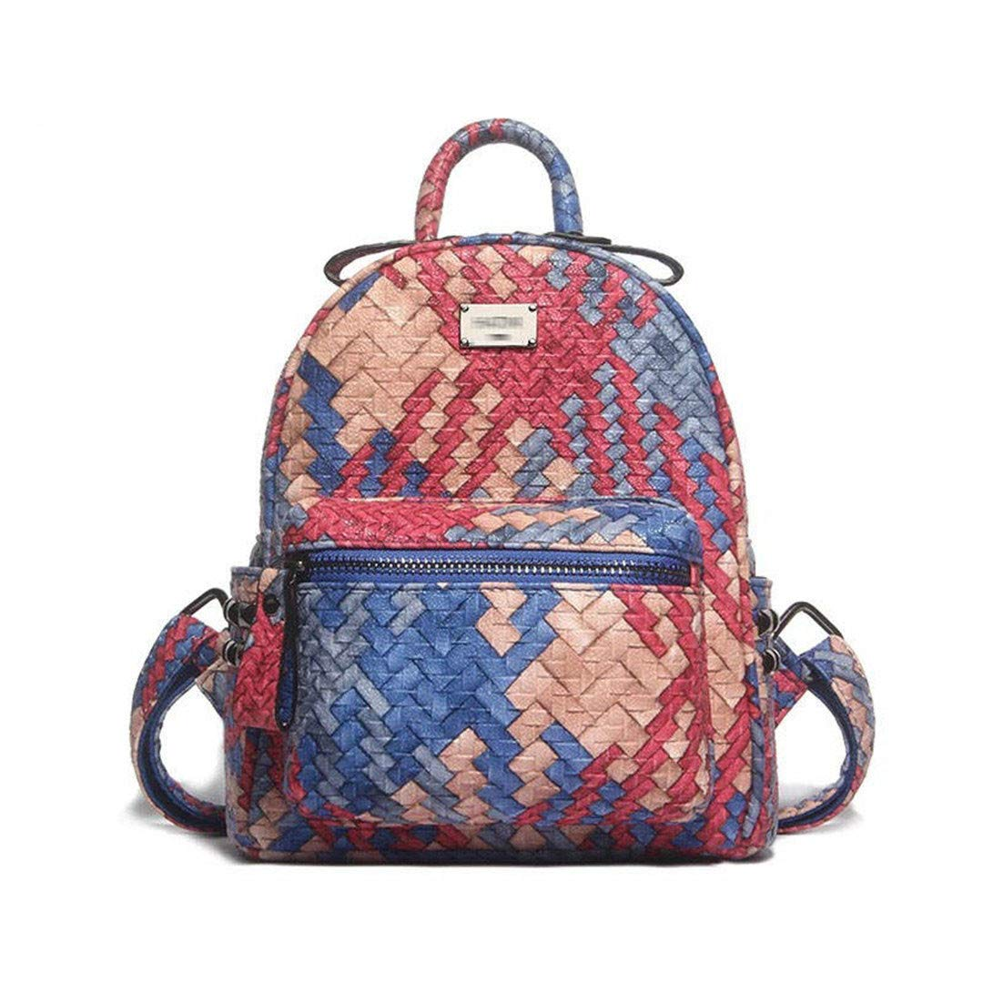 Small blueee red One_Size Cute Backpack Leather New Fashion Woven Travel Daypacks Women Backpack Medium Black