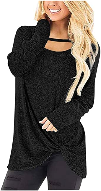 Women's Chest Cutout Long Sleeves Shirts Front Twist Knot Tops Casual Loose Blouses Soft Pullover Tops Tunics Black