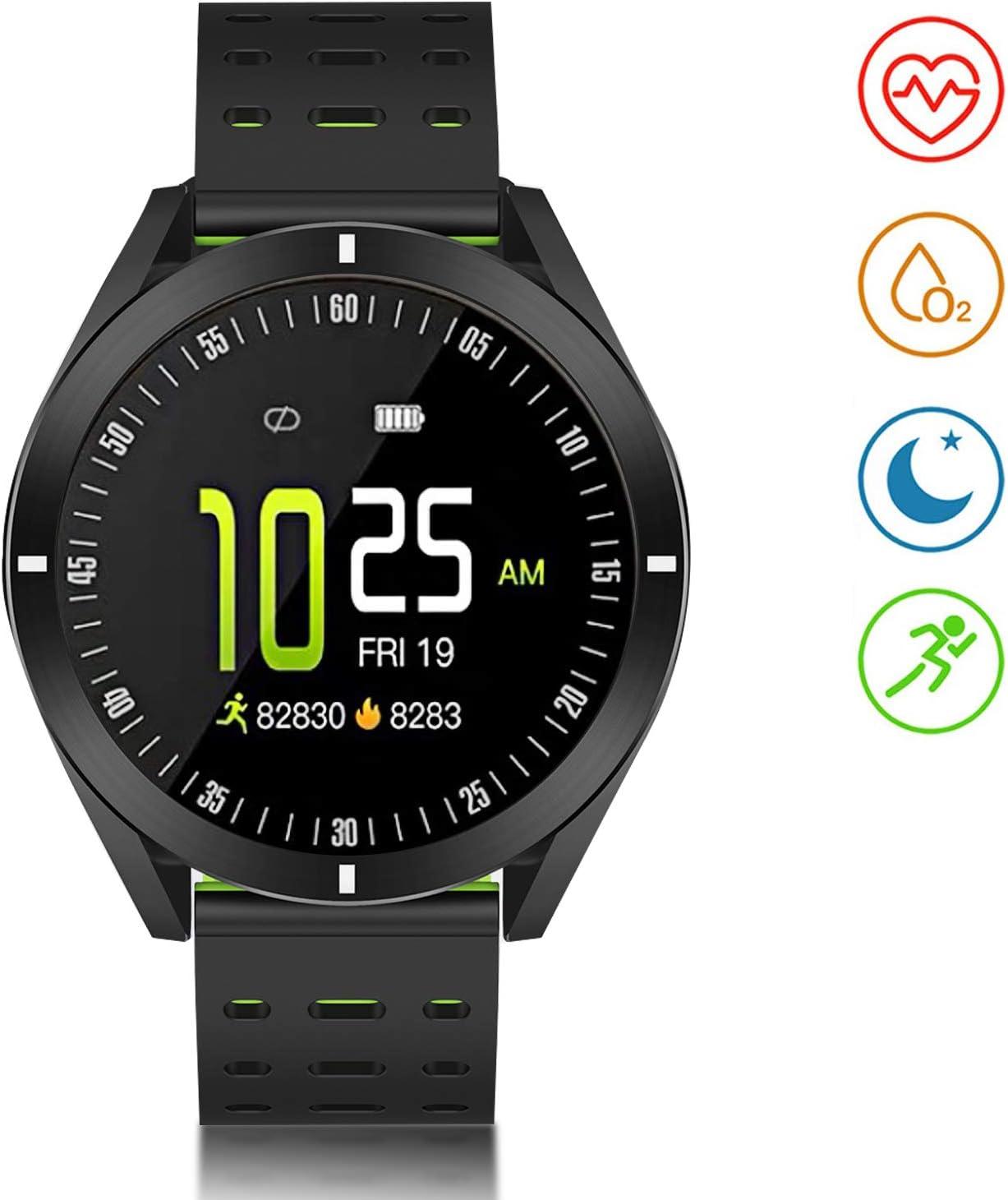 Smartwatch, Reloj Inteligente Impermeable con GPS Monitor de Ritmo Cardíaco Podómetro Cronómetro Pulsera Actividad de Fitness con Podómetro Smart Watch Mujer Hombre niños para iOS y Android (Verde.)