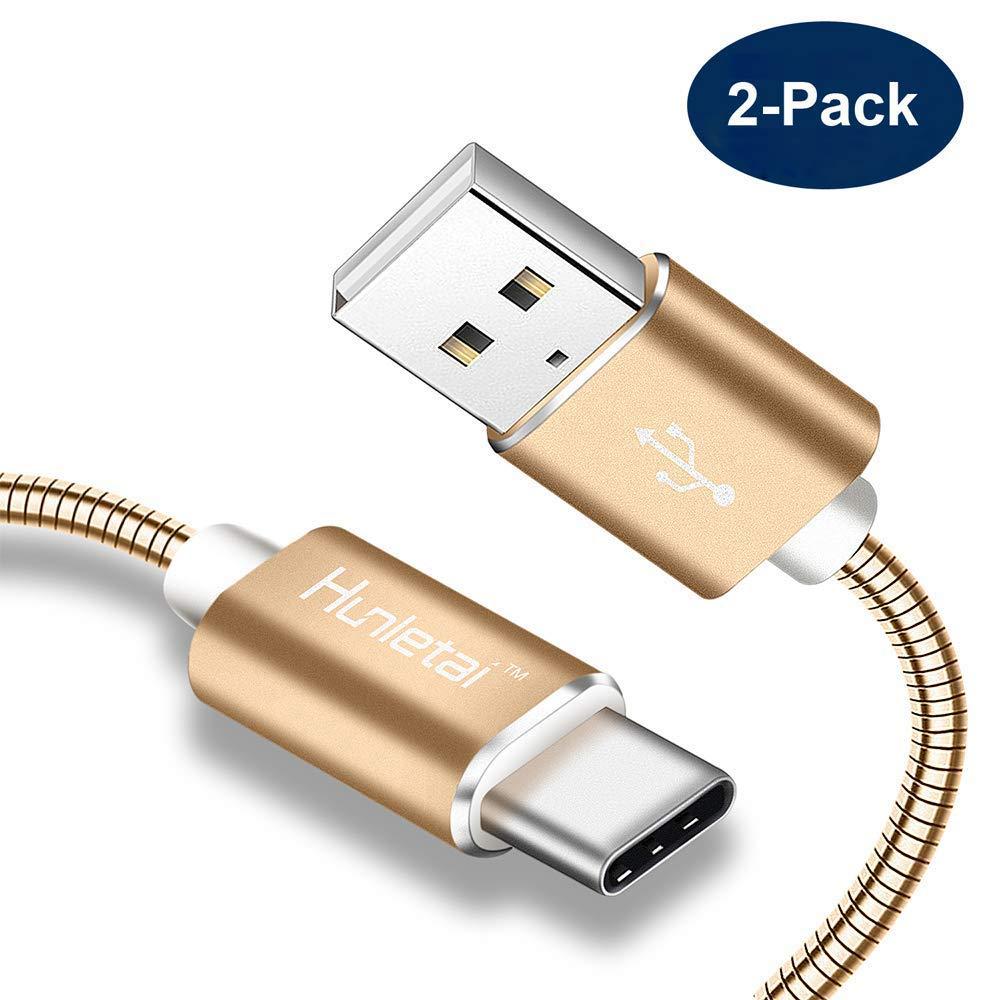 Hunletai Cable Recarga USB Tipo C, Gold, Paquete de 2