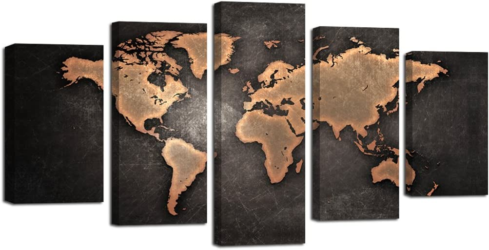 set de 5 paneles canvas Mapa del mundo abstracto vintage