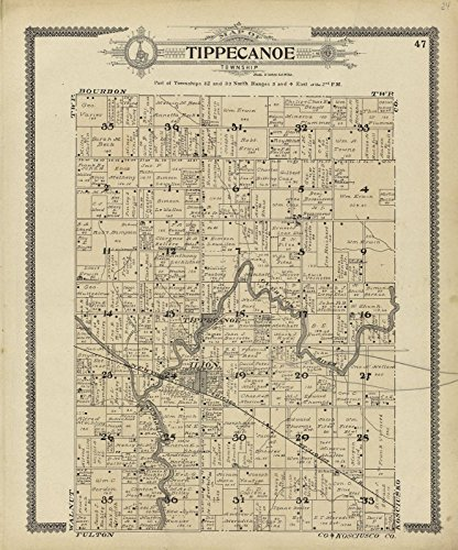 Historic 1908 Map | Standard Atlas of Marshall County, Indiana | Map of Tippecanoe Township 20in x 24in