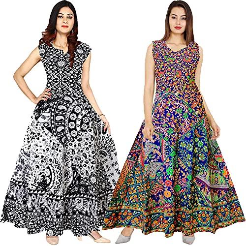 Radhika Emporium Women's A-Line Cotton Rajasthani Paisley Print Long Maxi Gown Dress – (Free Size Upto XXL) pack of 2
