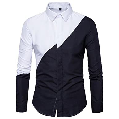 1041700d91c VPASS-Mens Oxford Long Sleeve Shirt 100% Premiun Cotton Casual Slim Fit  Collar Suits Formal Business Tee Dress Shirts Blouse Top  Amazon.co.uk   Clothing