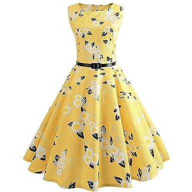 fe8fcfbc651a37 Amphia Sommerkleider 50er Retro Damen Rockabilly Kurz Vintage Kleid  Ärmellos Swing Kleid Ballkleid: Amazon.de: Bekleidung