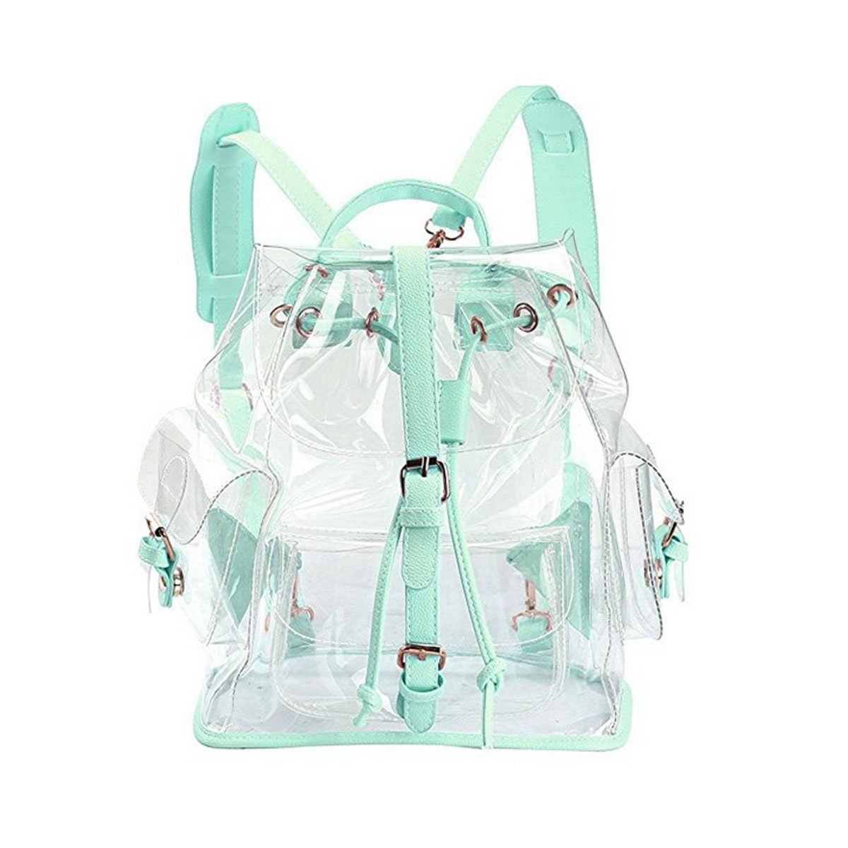 ANPI Cute Stylish Summer Clear Backpack Rucksack Knapsack Satchel Transparent for Girls and Ladies Green