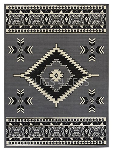 Rugs 4 Less Collection Southwest Native American Indian Area Rug Navajo Design R4L SW2 in Grey (5'x7') by Rugs 4 Less