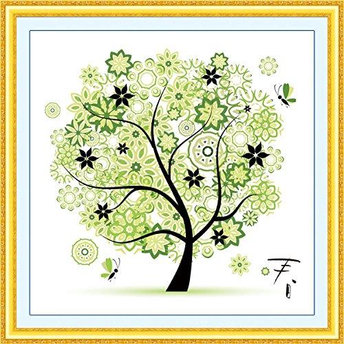 DIY Counted Cross Stitch Kits Handmade Needlework Embroidery Set Home Decor Colorful Tree Spring Season