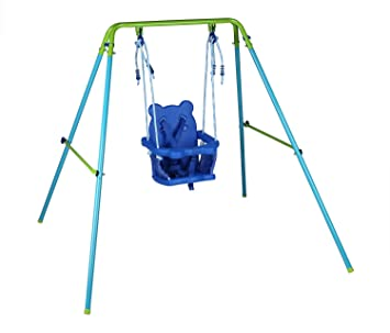 Blue Folding Swing Outdoor Indoor Toddler With Safety Baby Seat For Chirldrens