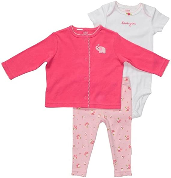 4179e4cb61a45 Image Unavailable. Image not available for. Color  Carter s Pink Elephant 3  Piece Pant Set 12 Months