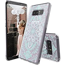 Galaxy Note 8 Case, Galaxy Note 8 Cover, MOSNOVO Aqua and White Mandala Printed Clear Design Transparent Plastic Hard Back Case with TPU Bumper Protective Case Cover for Samsung Galaxy Note 8 (2017)