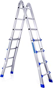 4HOMART Aluminum Extension Multi-Purpose Ladder 4 x 4 Step 16 Foot Extension Adjustable & Folding Multi-Use Telescoping Ladder with 300 lb. Load Capacity for Home and Garden