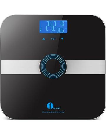 Basculas de baño grasa corporal , pesos de baño con Tecnología Step-On, Cristal