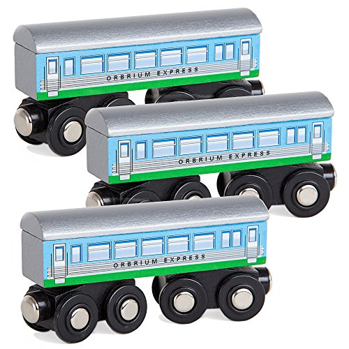 Gordon Big Express Engine - Orbrium Toys 3 Pcs Large Wooden Railway Express Coach Cars, Fits Thomas The Tank Engine, Brio, Chuggington Wooden Train