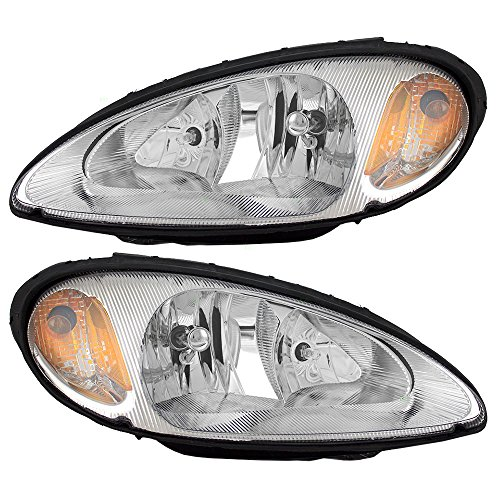 Headlights Headlamps Driver and Passenger Replacements for 01-05 Chrysler PT Cruiser 5288765AI 5288764AI (Headlights Bulb Cruiser Pt)