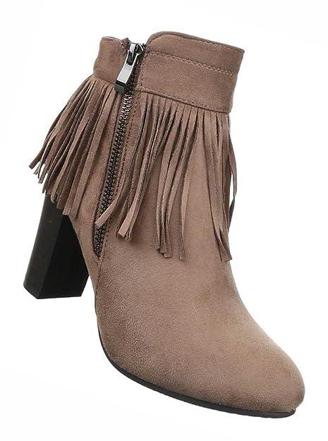 Damen Boots Schuhe Stiefeletten Mit Fransen Schwarz Grau Braun 36 37 38 39 40 41