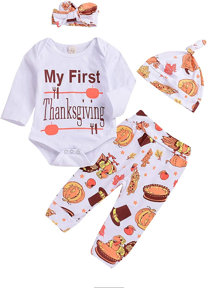 Baby Boy Girl Bodysuit+Turkey Pants and Hat Headband Thanksgiving Outfit Clothes Set