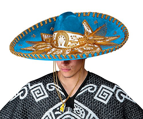 Threads west Premium Adult Mariachi Charro Hat (Light Blue and Gold)