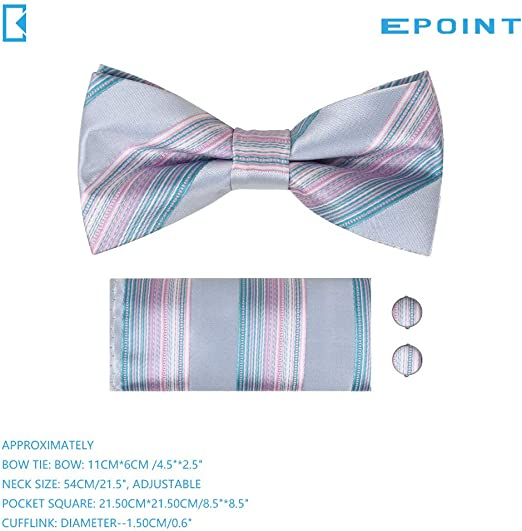 Epoint Mens Fashion Multicolored Silk Patterned Pre-tied Bowtie Set