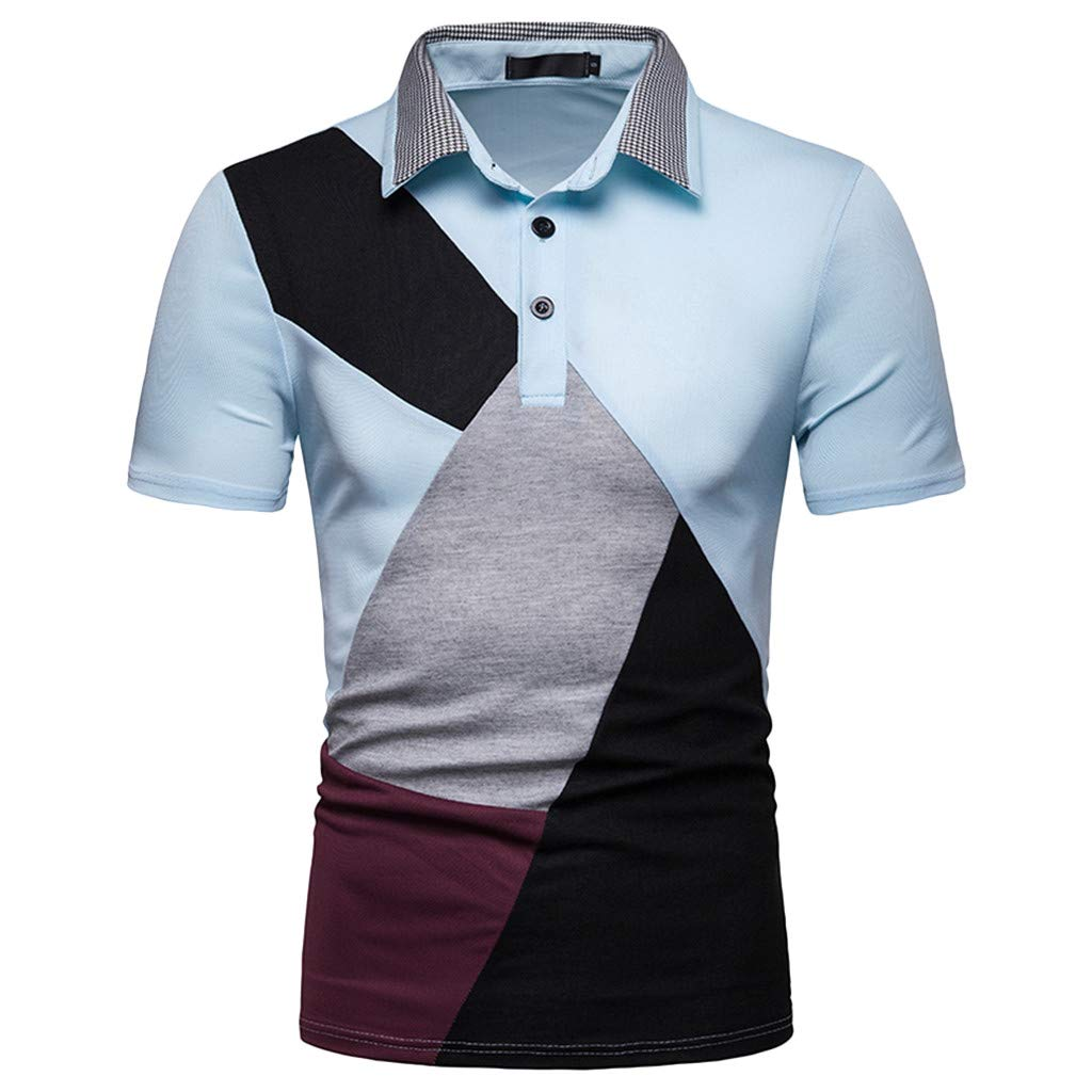 Polo Shirt For Men Sagton Summer Fashion Mens Casual Stand Collar Button Patchwork Short Sleeve Top Blouse