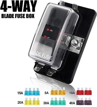 12v 1 x 4 way blade fuse box holder amazon com 4 way blade fuse box 12 32v 4 circuit fuse block  amazon com 4 way blade fuse box 12