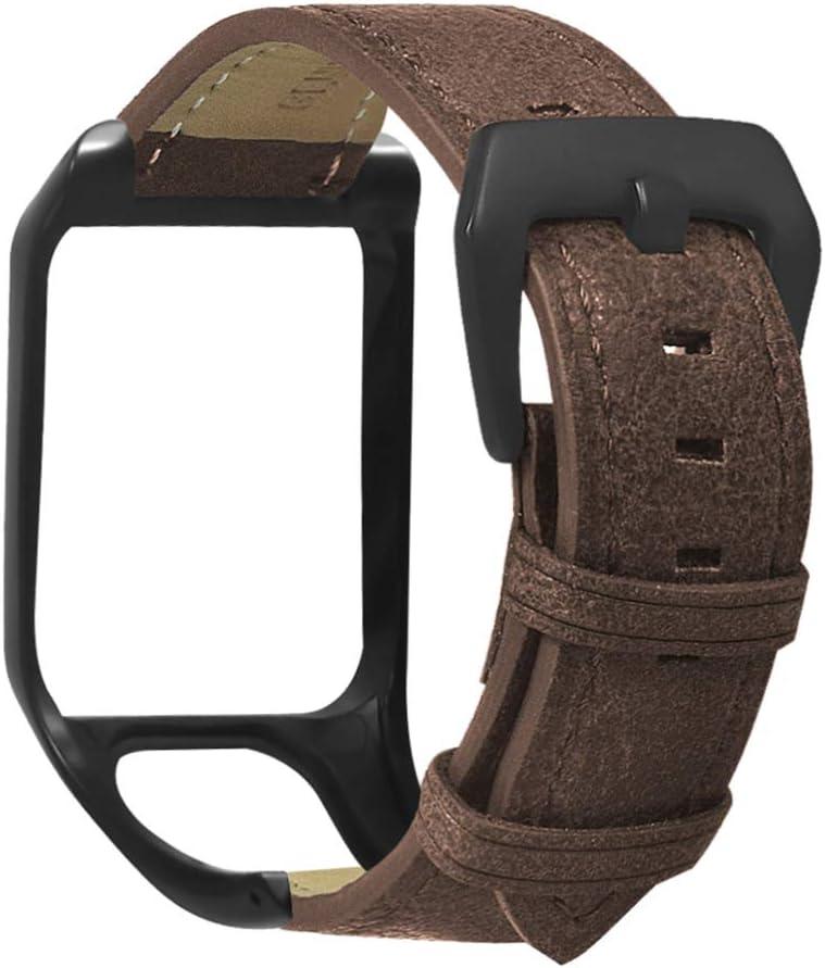 Baluue Compatible con Tomtom Runner3 y Tomtom Adventurer Watch Strap - Correa de Repuesto de Cuero Pulsera Pulsera con Protector de Caja de Reloj
