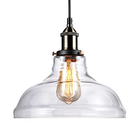 Amazoncom Leonlite 1 Light Industrial Clear Glass Pendant Light