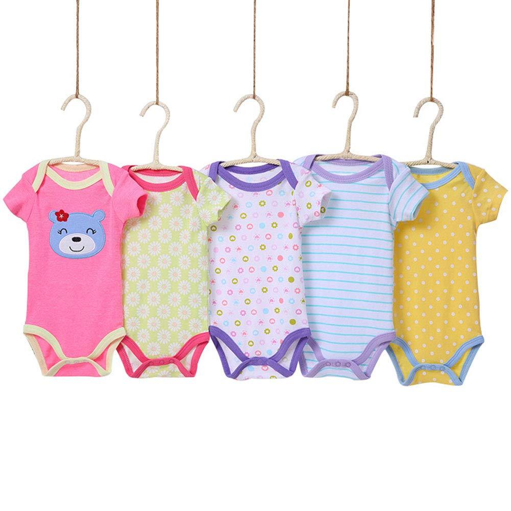 RONSHIN 5 Pcs Infant Boys Girls Summer Casual Cute Cartoon Printing Short Sleeve Romper Random Color