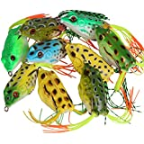wLure 5 Hollow Body Topwater Frogs Fishing Lures Baits with Free Tackle Box 2 1/5 Inch 3/8 Oz FG43KB