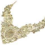 Vintage Damen Dekolleté-Halskette Viktorianische Azteken Maya Kette aus Metall Collier mit Spitzen in Gold-Optik von DesiDo®