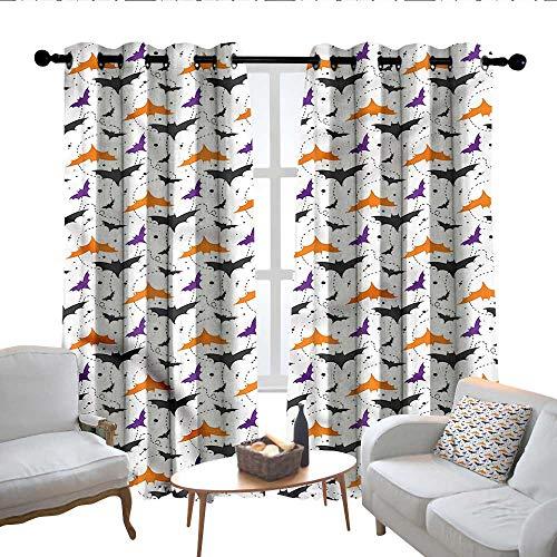 Lewis Coleridge Bedroom Curtain Halloween,Bat Silhouettes Swirls,Insulating Room Darkening Blackout Drapes 52