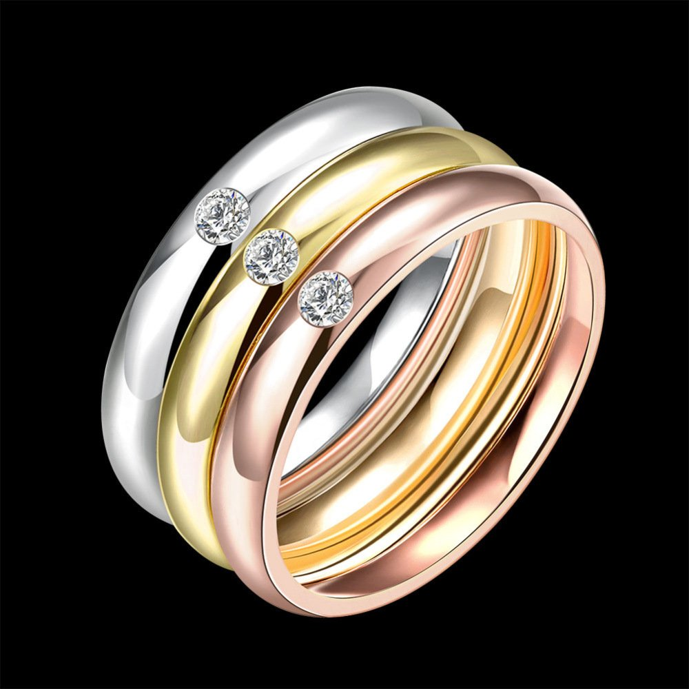 JAJAFOOK Women 3pcs Stainless Steel Fashion Cubic Zirconia Eternity Stackable Ring Wedding Band