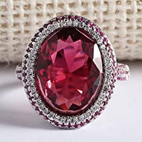 LALISA Huge Oval Cut 4.85CT Ruby Women 925 Silver Wedding Engagement Ring Size 6-10 (7)