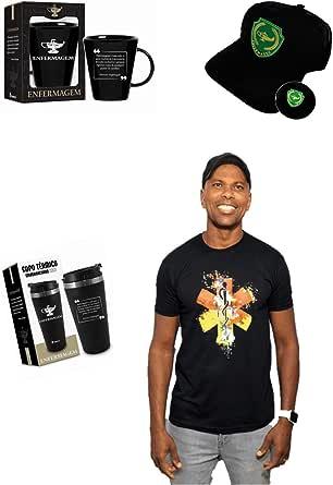 KIT ENFERMAGEM LUXO 1 - Boné + Copo Térmico + Caneca Luxo + Camiseta Enfermagem Medicina Saúde Resgate Preta Tamanho G