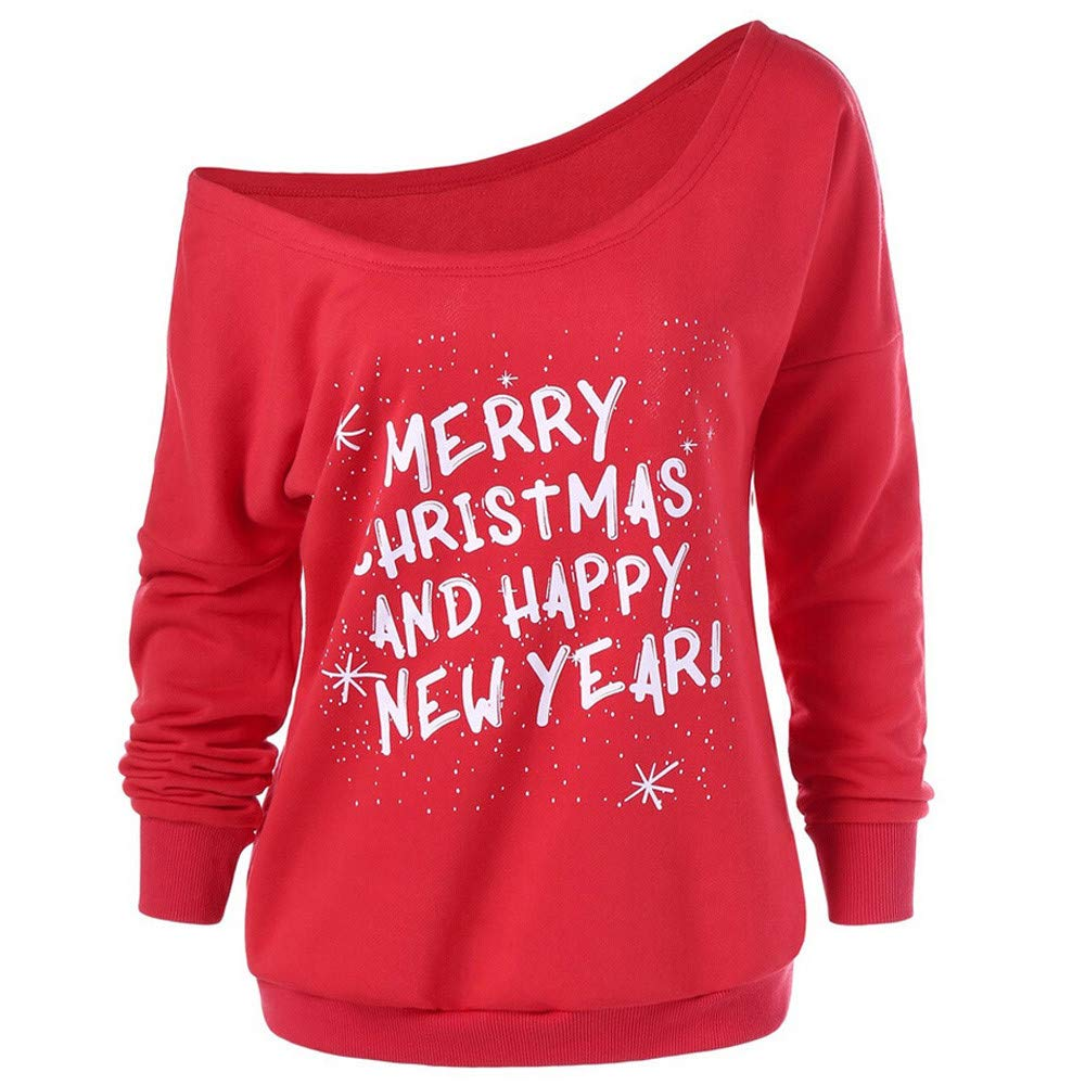 Sttech1 Women Christmas Diagonal Collar Long Sleeve Letter Sweater Blouse Top-Merry Christmas and Happy Year