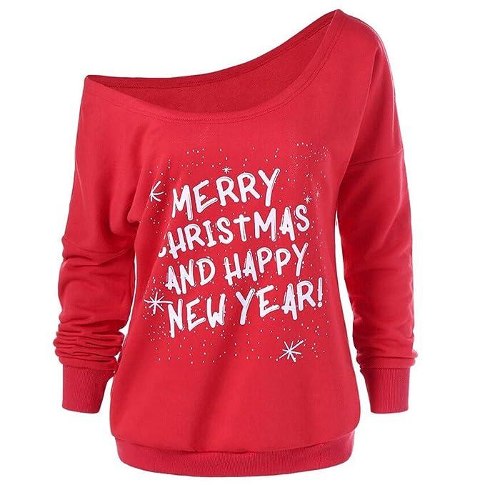 a620c57743bf Amphia - Langärmeliger Buchstabe-Pullover des diagonalen Kragens des  Weihnachten,Mode Frauen Frohe Weihnachten