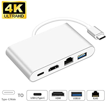 4 In 1 Type C to HUB 3 Port with Gigabit Ethernet Adapter 3.0 USB-C For MAC Pc