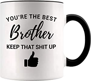 YouNique Designs Funny Brother Mug, 11 Ounces, Brother Gifts from Sister and Brother (Black Handle)