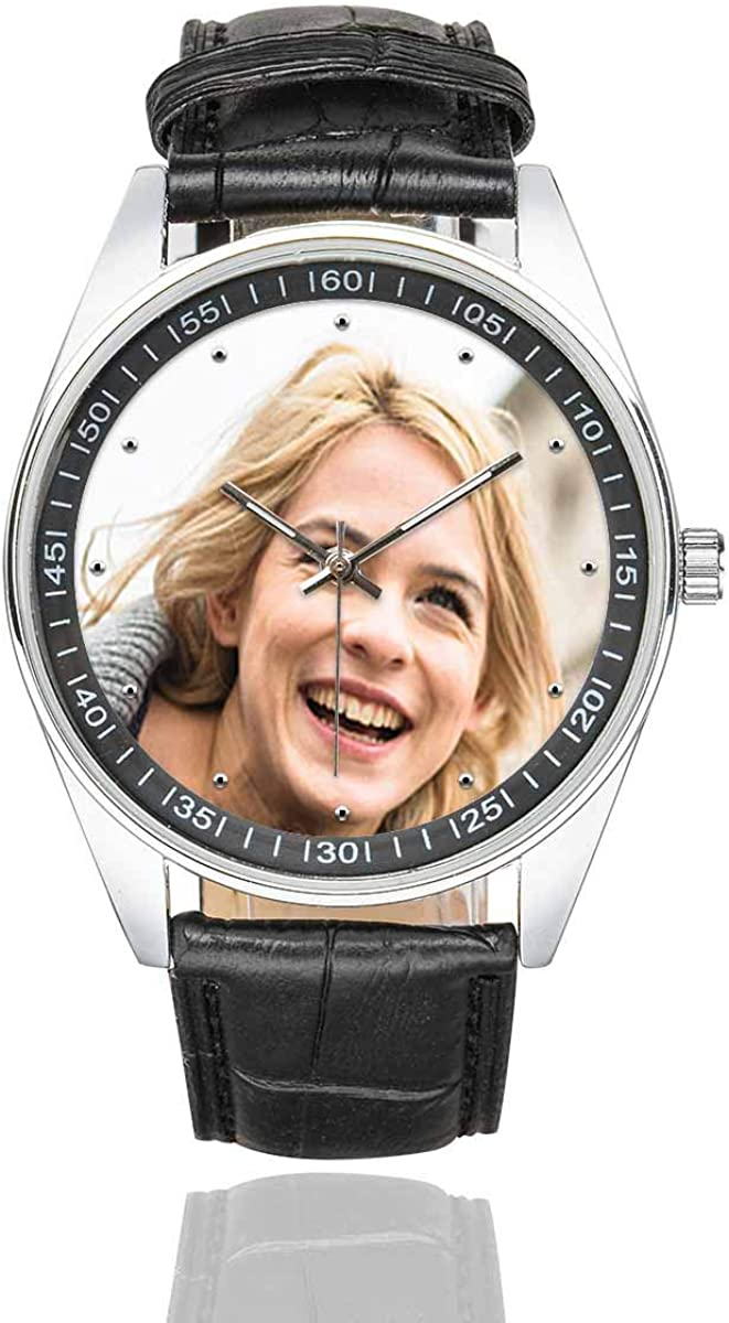 Personalized Graphic Photo Face Watch Casual Black Leather Strap Wrist Watches for Men Your Boyfriend Husband
