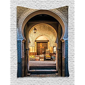Ambesonne Moroccan Tapestry Decor by Typical Moroccan Door to Old Medina Mediterranean Historical Arch Entrance  sc 1 st  Amazon.com & Amazon.com: Ambesonne Moroccan Tapestry Decor by Typical Moroccan ...