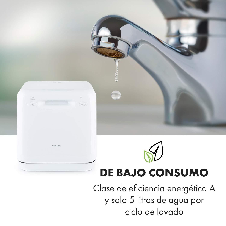 sin instalaci/ón 125 kWh//a/ño blanco 3 programas Klarstein Aquatica minilavavajillas clase A aislado consumo de agua de 5 litros Touch Control 2 Ma/ßgedecke lavado a 360/°