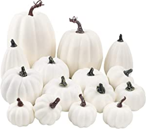 FUNARTY 16pcs White Artificial Pumpkin Various Sizes Pumpkin Decorations for Fall Harvest Party, Halloween Thanksgiving Decoration